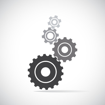 gear motion: Cogs (gears) on white Illustration