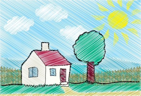 Childs drawing of the house Vector