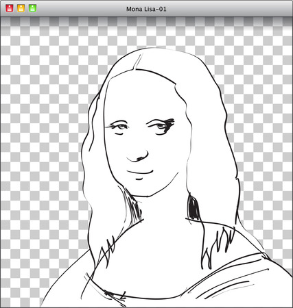 Mona Lisa Sketch in DTP window Vector
