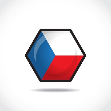 cz: Flag of The Czech Republic on a Glossy Hexagon Icon  Vector Illustration
