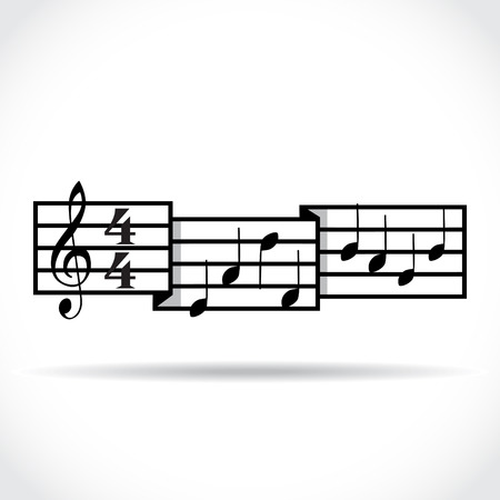 lyrics: Music signature and bars with notes  Illustration
