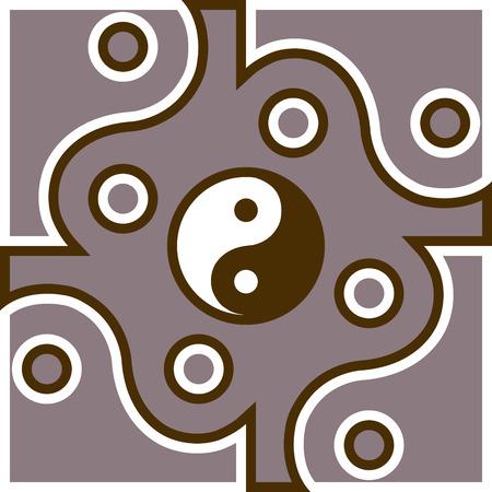 Jing Jang symbol theme  Illustration