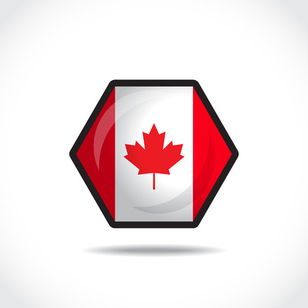 canadian flag: Canadian flag on a glossy hexagon icon  Vector Illustration