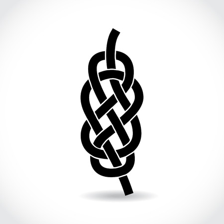 Knot on the rope symbol, silhouette illustration Vector
