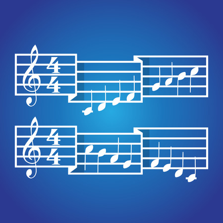 eight note: Music signature and bars with notes. Illustration