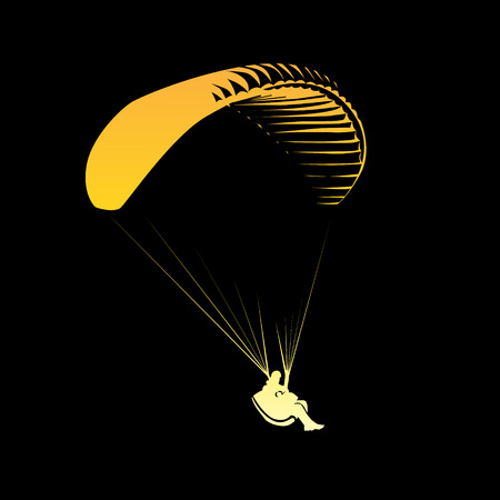 glider: Paragliding theme, parachute controlled by a person Illustration