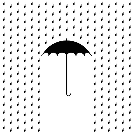 raining: raining on a umbrella - illustration