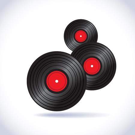record player: Vinyl records in vector - illustration
