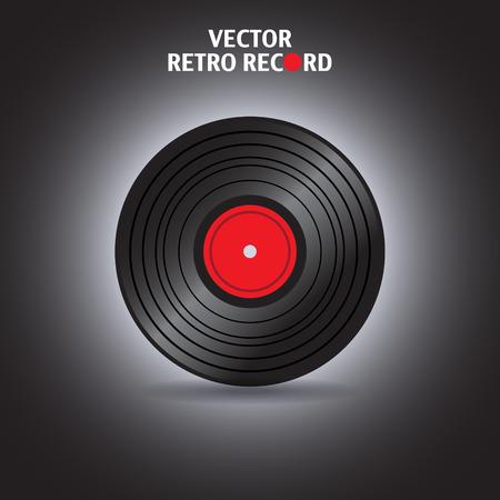 vinyl disk player: Vinyl record in vector - illustration Illustration