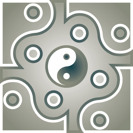duality: Jing Jang symbol theme. Illustration