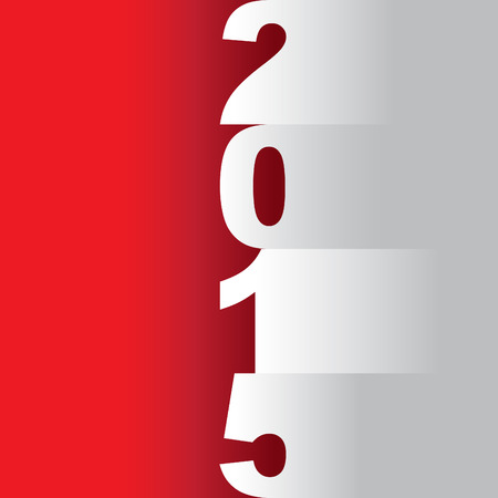 tittle: new year 2015 tittle, paper cuts on a red background - illustration