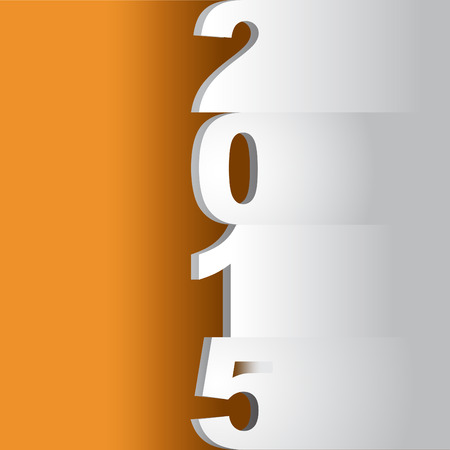 tittle: new year 2015 tittle, paper cuts on an orange background - illustration Illustration