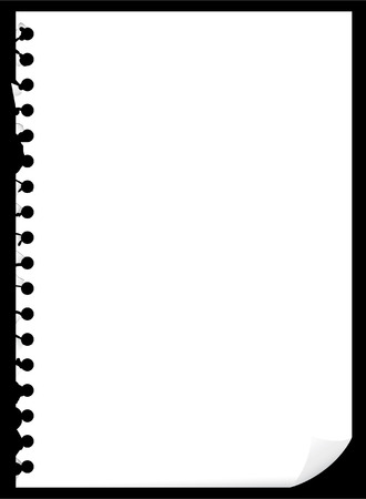 page turn: Blank page of paper with bended corner, vector illustration Illustration