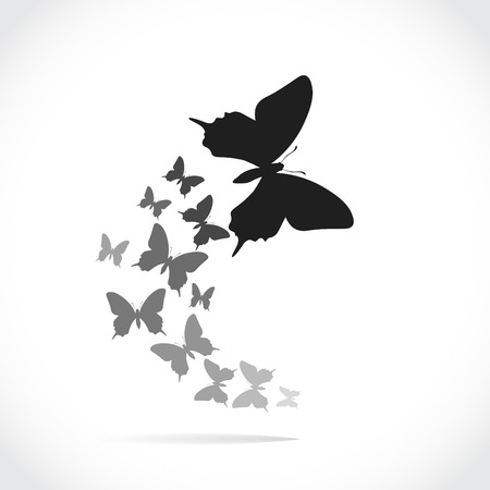 following: Group of silhouette butterflies following the leader, illustration