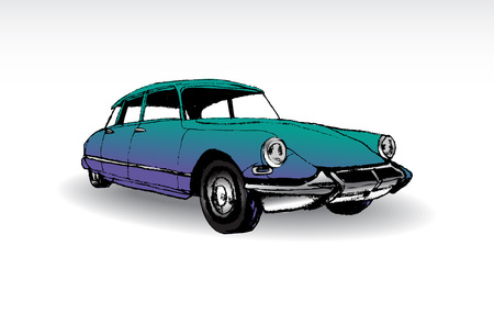 old cars: French old-timer Citroen ds DS - illustration