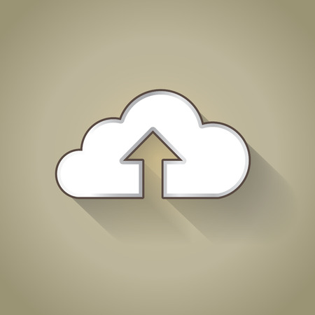 uploading: Nube icona caricando in design piatto Vettoriali