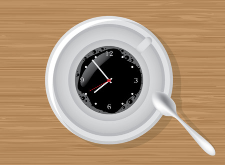 office clock: Coffee time, clocks in a cup of coffee, illustration Illustration