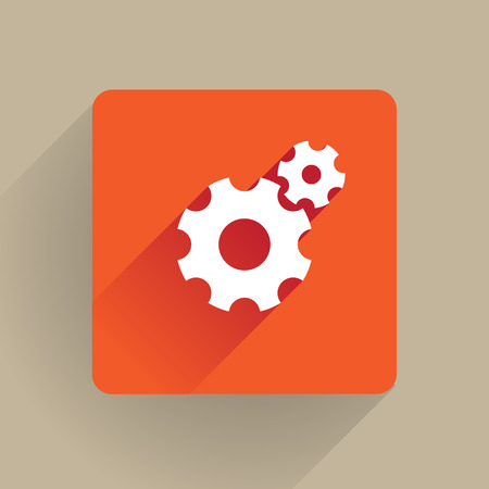 cogs: Cogs icon in flat style Illustration