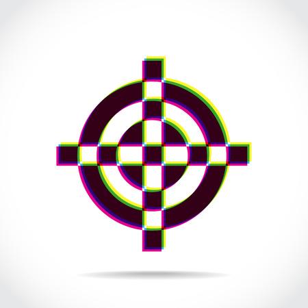 radar gun: Crosshair symbol created of multiply colors