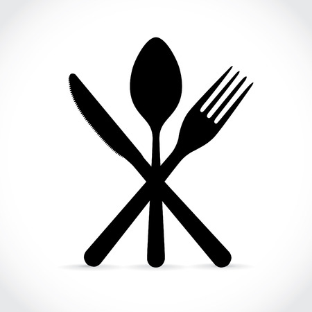 crossed fork over knife and spoon- illustration Vector
