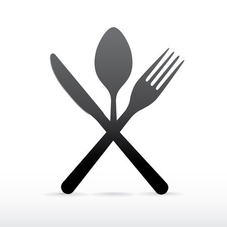 crossed fork over knife and spoon- illustration