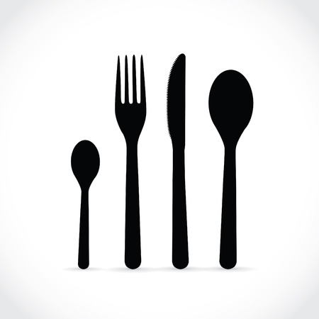 coffee spoon: Cutlery, dishes, coffee spoon, spoon, knife and fork Illustration
