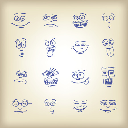 sad cartoon: Emoticons - sketch on an old paper