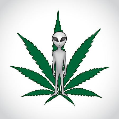 ET and cannabis leaf. Vector Vector