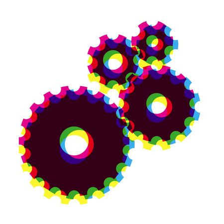 multiply: Engranajes negros compuestas de colores se multiplican