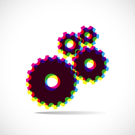 Black gears composed of colors multiply