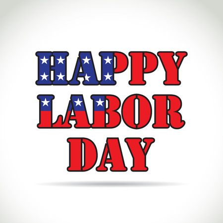 dia: Tema del día de trabajo feliz, texto con elementos de la bandera Vectores