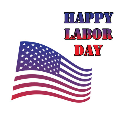 Happy labor day theme, text with flag elements Vector