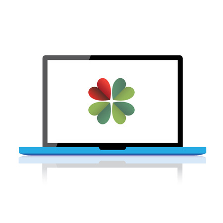 Blue body laptop with four leaf clower on LCD, illustration Stock Vector - 28254664