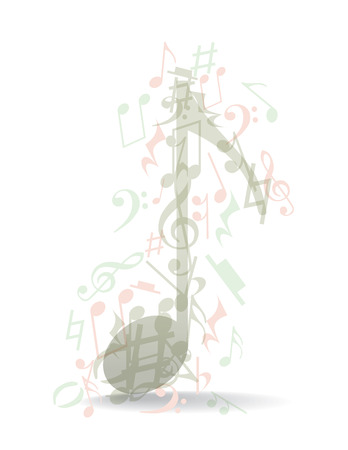 Transparent music notes theme, illustration Vector