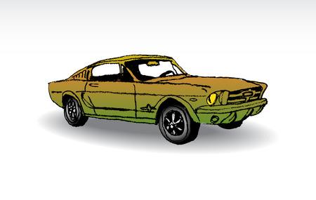 convertible car: Oldtimer - ford mustang 1965 - illustration Illustration