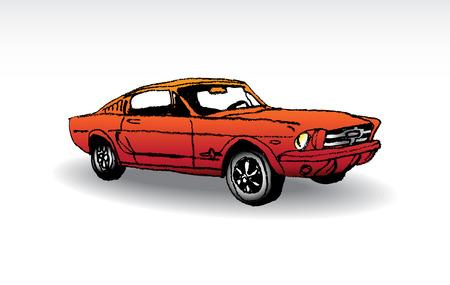 mustang horses: Oldtimer - red ford mustang 1965 - illustration Illustration