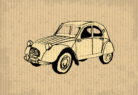 old cars: Old-timer - citroen 2 cv 1964, illustration on a cartboard