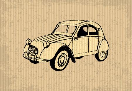 cv: Old-timer - citroen 2 cv 1964 illustrazione su un cartboard Vettoriali