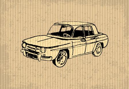 oldtimer: Old-timer - Renault 8 Gordini 1964, illustration on a cartboard Illustration