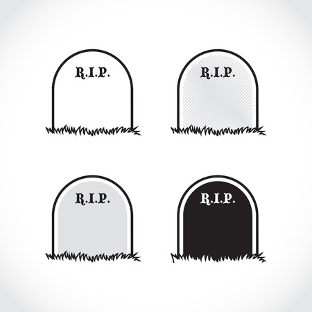 Gravestone - set of, rest in peace - illustration