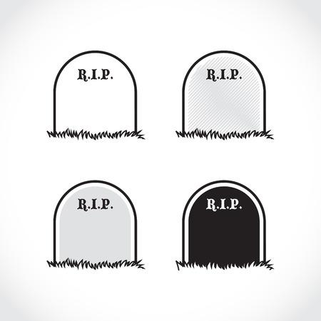 tumbas: Lápida - conjunto de, descanse en paz - ilustración