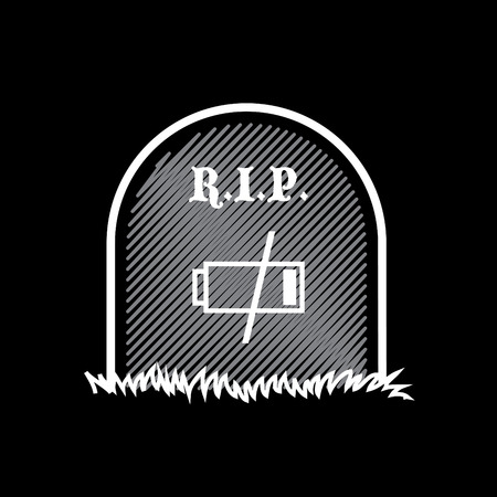 rest in peace: Gravestone, rest in peace, dead battery - illustration