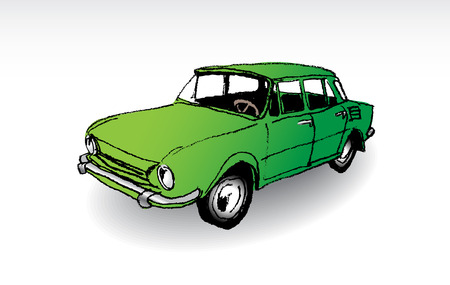 oldtimer: Czechoslovak oldtimer Skoda 100, illustration