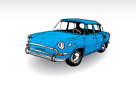 oldtimer: Czechoslovak oldtimer Skoda MB 1000, illustration
