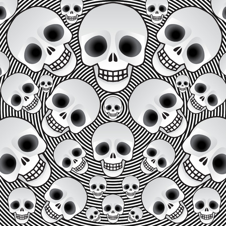 Skulls on a black background, illustration Vector