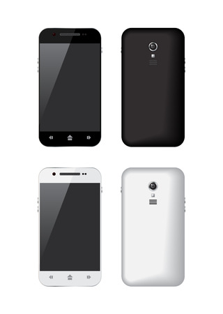 Black and white smartphone, illustration Vector
