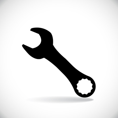 adjustable wrench: Spanner casting a shadow, silhouette
