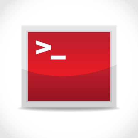Terminal red icon, command line access - illustration Vector