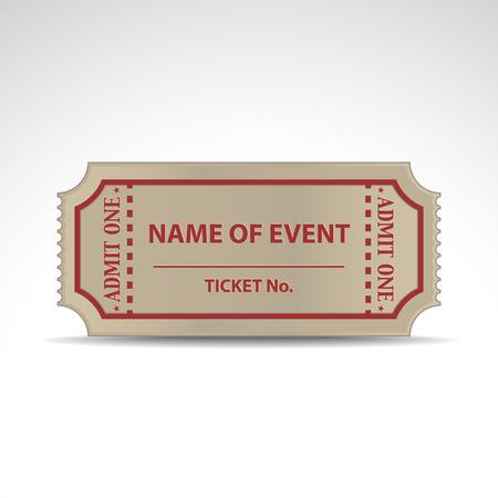 cinema seats: Empty ticket with a shadow - illustration Illustration