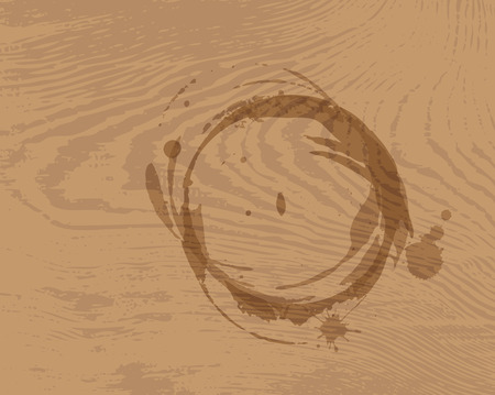 Coffee ring spots on a wooden background Vector